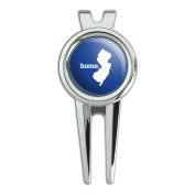 New Jersey NJ Home State Golf Divot Repair Tool and Ball Marker - Solid Navy Blue
