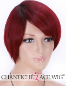Chantiche Short Bob Synthetic Wig - Fascinating Burgundy Ombre Wigs for Girls Black Roots Side Part Hair Wig #1B+99J