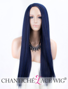 Chantiche Cheap Blue Synthetic Wig - Glueless Long Hair Wigs Full Machine Made Black Mixed Blue Yaki Wig Heat Resistant 60cm