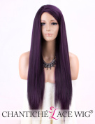 Chantiche Yaki Purple Wig - Attractive Glueless Long Synthetic Wigs for Women Cheap Side Part Hair Wig Black Mixed Purple 60cm