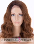 Chantiche L-Part Short Bob Lace Wig - Affordable Wavy Ombre Brown Synthetic Wigs for Women Dark Rooted Wig for Christmas Party