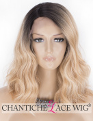 Chantiche Synthetic Short Bob Wigs for Women - Side Part Lace Front Ombre Blonde Wig Wavy Dark Rooted Heat Resistant Fibre Hair