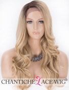 Chantiche Long Ombre Blonde Lace Front Wig L- Part Wavy Synthetic Hair Wigs for Women Dark Roots Heat Resistant Fibre Hair + Free Wig Cap