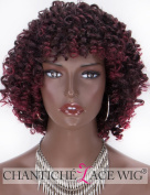 Chantiche Short Bob Curly Wig Machine Made Burgundy Synthetic Wigs for Women Glueless Wine Red and Black Heat Resistant Fibre Hair