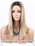 Chantiche Shoulder Length Ombre Blonde Wig Lace Front Natural Straight Synthetic Hair Wigs for Women Dark Rooted Heat Resistant Fibre Hair