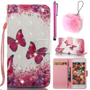 Galaxy J3 2016 Case,Galaxy J320 2016 3D Printing Case,Vandot Bling Diamond Wallet Case for Samsung Galaxy J3 J320 2016 PU Leather Flip Stand Magnetic Cover Sleek HD Colourful Pattern Drop Protection Case+Faux Fur Pompom Pendant+Stylus Pen-[Pink Butterf ..