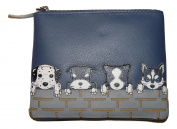 Luxury DOGS coin purse by Mala Leather huskie dalmation sheep dog 4156 65 navy