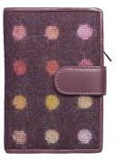 BOXED Mala Leather ladies tab purse leather & tweed abertweed 3124 40 plum spot