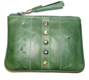 Zulu RFID Coin Purse BY Mala Leather & giftbag soft leather Green or Tan 4126