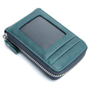 Esdrem RFID Blocking Card Wallet Retro Leather Credit ID Card Security Travel Wallet/Holder/Case/Purse/Pocket with Zipper Unisex
