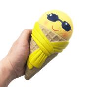 Newest Slow Rising Squishies Jumbo, Toamen Emoji Ice Cream Scented Squishy Charm Slow Rising Simulation Kid Toy Key Cell Phone Pendant Strap Gift, 18cm*9.5cm