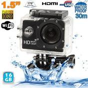 Camera Full HD 1080p WIFI Sports Camera Diving Housing Black 16GB