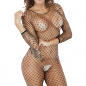 Bluestercool Women's Criss-Cross Mesh Bodystocking Strap Bodysuit Lingerie