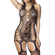 Bluestercool Hot Sell Women's Criss-Cross Mesh Bodystocking Ladies Strap Bodysuit Lingerie
