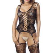 Bluestercool Hot Sell Women's Criss-Cross Mesh Bodystocking Strap Bodysuit Lingerie