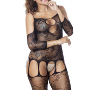 Bluestercool Women's Sexy Criss-Cross Mesh Bodystocking Ladies Strap Bodysuit Lingerie