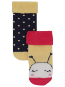 M & Co Baby Girl Black Yellow & Pink Bee And Spot Design Fold Over Top Socks Two Pack