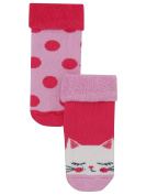 M & Co Baby Girl Cotton Rich Stretch Pink Spot And Cat Print Fold Over Top Socks Two Pack