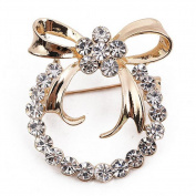 Dosige Wreath Crystal Bowknot Wedding Brooch Pins Dress Accessories Women's Jewellery