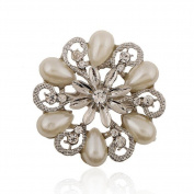 Dosige Fashion Crystal Flower Brooch Faux Pearl Shawl Scarf Buckle Clips for Girls Women