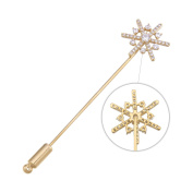 Brooches and Pins /Lapel Stick Pin/Golden Copper Composites /Snowflake with Rhinestone Minimalism 7.9cm