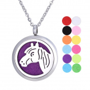 Aromatherapy Essential Oil Diffuser Necklace/ White K Stainless Steel/Horse/ Round/ Open Magnetic Lock Pendant 30mm