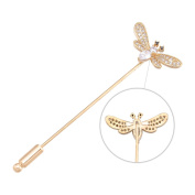 Brooches and Pins /Lapel Stick Pin/Golden Copper Composites /Bee with Rhinestone Minimalism 7.8cm