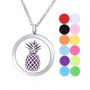 Aromatherapy Essential Oil Diffuser Necklace/ White K Stainless Steel/Hollow out Pineapple / Round/ Open Magnetic Lock Pendant 30mm