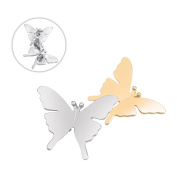 Brooches and Pins /Lapel Stick Pin/Golden and Silvery Copper Composites /Double colour butterfly 40mmx30mm