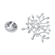 Brooches and Pins /Lapel Stick Pin/Silvery Copper Composites /Life Tree with Rhinestone 25mmx27mm