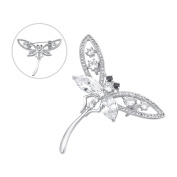 Brooches and Pins /Lapel Stick Pin/Silvery Copper Composites /Dragonfly with Rhinestone High-end 42mmx45mm