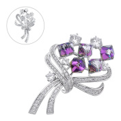 Brooches and Pins /Lapel Stick Pin/Silvery Copper Composites / Purple Sparkle Diamond Bouquets with Rhinestone High-end 50mmx32mm