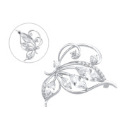 Brooches and Pins /Lapel Stick Pin/Silvery Copper Composites /Sparkle utterfly Flower with Rhinestone High-end 42mmx42mm