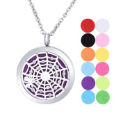 Aromatherapy Essential Oil Diffuser Necklace/ White K Stainless Steel/Hollow out Spider Web with Rhinestone / Round/ Open Magnetic Lock Pendant 30mm
