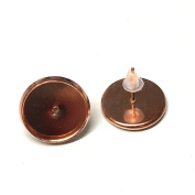 10 x 12mm rose gold cabochon stud earring trays for jewellery maing