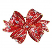 Lumanbuy 1 Pcs Brooch Fashion Pearl Elegant Diamond Crystal Christmas Etiquette Design For Festival Gift Brooch Pin Red