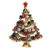 Lumanbuy 1 Pcs Brooch Fashion Pearl Elegant Diamond Crystal Christmas Tree Design For Festival Gift Brooch Pin Colourful Style B