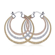 Colourful Dull Polish Three Layers Circle Round Earrings for Fashion Jewellery 43mmx40mm