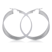 Torsion Circle Round Earrings for Fashion Jewellery 50mm for Women Girls