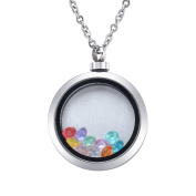 Stainless Steel Floating 12 Month Birthstone Round Locket Waterproof Memorial Pendant Necklace Jewellery