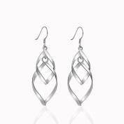 Lanaso Twist Big Leaf Earrings Dangle Hook Earrings Sterling Silver Earrings Drop Dangle Earrings Gifts