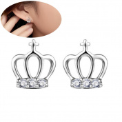 Lanaso Diamond Crown Earrings Sterling Silver Earrings Ear Stud Earring Jewellery Claps Gifts Women Girls