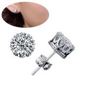 Lanaso Crown Earrings Crystal Stud Earrings Diamond Ear Clip Ear Pierced Stud Earrings Birthday Gifts for Women Girls