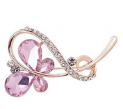 Lumanbuy 2 Pcs Brooch Fashion Pearl Elegant Diamond Crystal Butterfly Design For Festival Gift Brooch Pin Pink