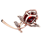 Lumanbuy 1 Pcs Brooch Pin Fashion Pearl Elegant Diamond Crystal Women Rose Design For Christmas Gift Wedding Golden