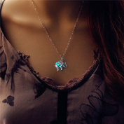 Glowing Elephant Necklace Silver Plated Bronze Jewellery Blue Green Colour 46cm