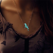 Glowing Bird Necklace Silver Plated Bronze Jewellery Blue Green Colour 46cm