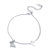 Butterfly Adjustable Cross Chain Anklet Bracelet for Women Girls Stainless Steel Anklets Foot Jewellery