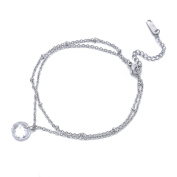 Rhinestone Double Layer Adjustable Chain Anklet Bracelet Women Girls Stainless Steel Anklets Foot Jewellery