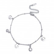Smiling Face Rhinestone Adjustable Chain Anklet Bracelet Women Girls Stainless Steel Anklets Foot Jewellery